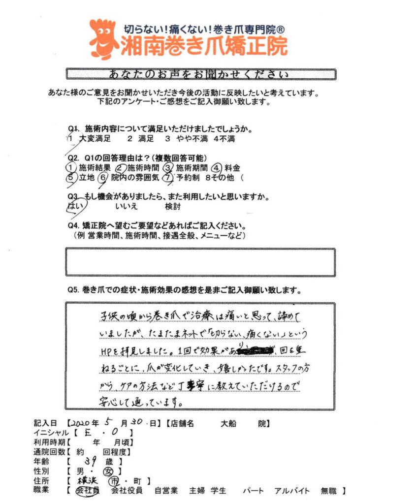 神奈川県 大船 巻き爪感想